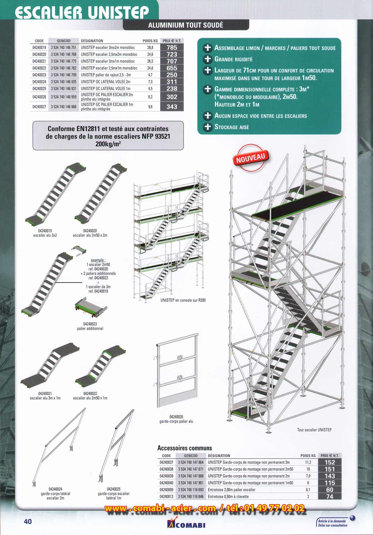 Page n 40 de 2013 escalier unistep tout aluminium tour d for Escalier escamotable grande largeur